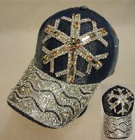 Denim Hat with Bling [Snowflake] Colored Gems